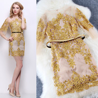 Sheer Mesh Bell Sleeves Gold Thread Embroidery Mini Dress