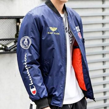 Champion New fashion embroidery letter print long sleeve coat jacket Blue