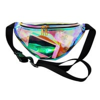 Designer hologram transparent waist packs casual travel waist bag waterproof PVC jelly bags small unisex summer beach bag bolsos