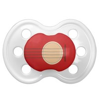 Retro Guitar Graphic Red Musical Instrument Design Baby Pacifier