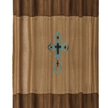 Cowgirl Kim Turquoise Cross Shower Curtain