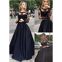Black Lace Two piece Prom Dress Long Sleeve Formal Dress Prom Dress