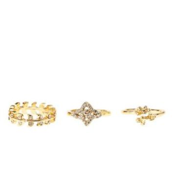 Gold Rhinestone Leaf Midi Rings - 3 Pack by Charlotte Russe