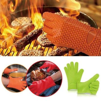 Silicone Heat Resistant Glove Oven BBQ Gloves Kitchen Potholders Cooking Thick Baking Mitt