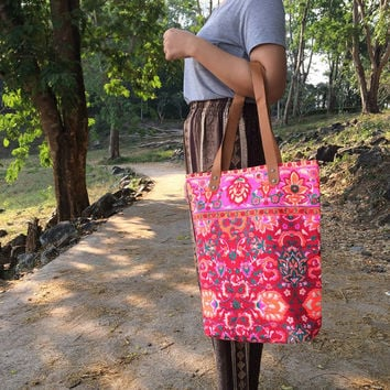 Tote bag Canvas Boho Hippie Beach bag Travel Bag Paint bag Festival Printed Tribal bag Neon Summer bag Hippie bag Weekender bag Purse.