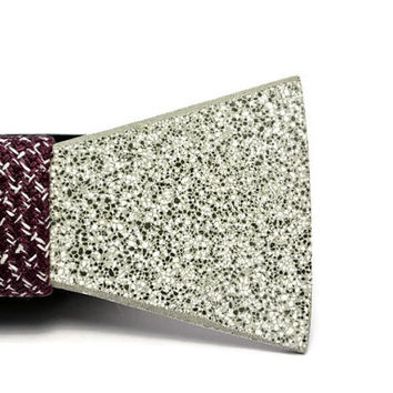 Unique Concrete  bow tie. Stone grey bowtie with marsala colored tweed fabric. Valentines gift for him! Men jewelry. Unique men gifts.