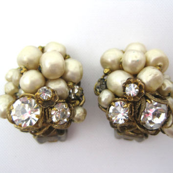 Vintage Pearl and Rhinestone Clip Earrings - 1950s Costume Jewelry DeMario NY
