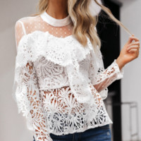 New lace short top sexy fashion shirt slim female holiday wind top