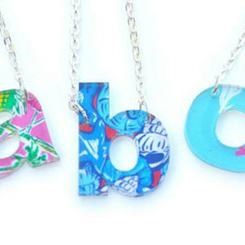 Gorgeous Acrylic Floating Single Letter Lower Case Block Necklace. Perfect gift for the upcoming holidays