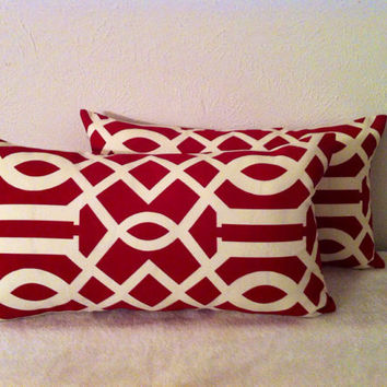 Decorative-Accent-Throw Pillow Cover Set of Two -12 x 22 inch Geometric Trellis.Cream on Red-Free Domestice Shipping.