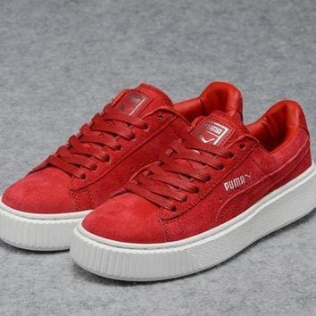 DCCKIJ2 Puma Rihanna Casual Suede Creeper Flatform Shoes Red White