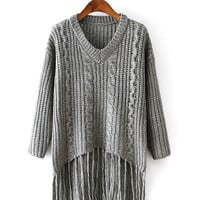 Gray Long Sleeve V-Neck Tassel Hem Knitted Sweatshirt