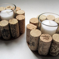 Naked Wine Cork Votive Candle Holder - Set of Two