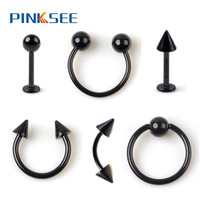 1PC Black Stainless Steel Eyebrow Navel Belly Lip Tongue Nipple Labret Ring Nose Bar Rings Body Piercing Jewelry Free Ship