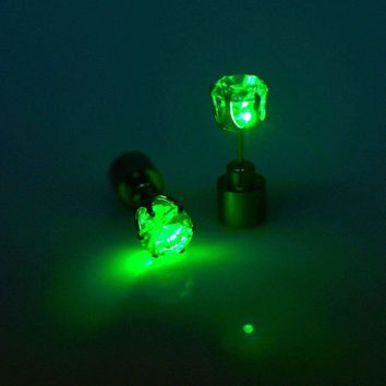 Light Up LED Earrings Studs Glowing Flashing Stainless Steel Earrings Studs Dance Party Accessories