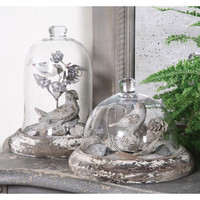 Cloches with Bird, Flower, and Base?::?Birds, Eggs, and Nests?::?Decorative Accessories?::?Home Accessories?::?Elizabeth's Embellishments