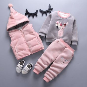 Winter Baby Boys Clothing Sets Warm Sports Tracksuits For Boys Three-piece Vest +Long sleeves+ Pants 3Pcs Hooded Kids Clothes