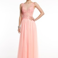 A-Line Beaded Dress with Illusion Neckline