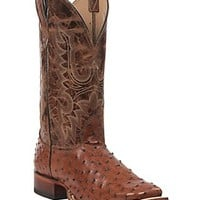 Cavender's Men's Peanut Brittle Full Quill Ostrich Double Welt Square Toe Exotic Western Boots
