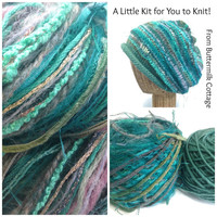 Knit Slouchy Hat  Kit Yarn Pattern Aqua Wool