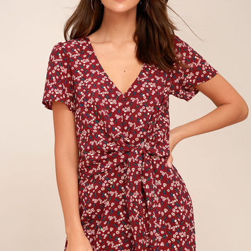 Floral Support Wine Red Floral Print Knotted Dress