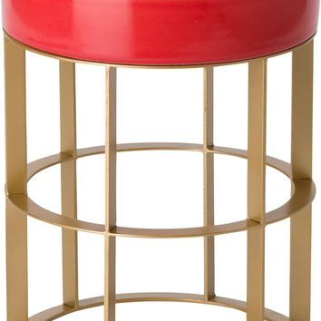 Milo Metal Stool/Table Powdercoated Gold With A Coral Ceramic Top
