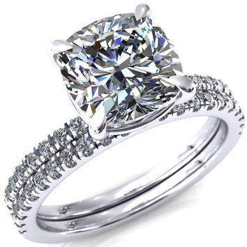 Alessandra Cushion Moissanite 4 Claw Prong Diamond Accent Engagement Ring