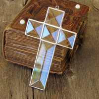Glass Cross Suncatcher, Clear Beveled Stained Glass Cross