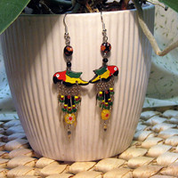 Parrot Earrings red, yellow, green,black ceramic, silver plate dangles, seed beads, Handmade Limited Edition
