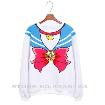 Japanese Anime Sailor Moon Hoodie shirt Top Harajuku Kawaii Cute Cosplay Costume Women Casual Pullover Hoodies Sweatshirt