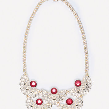bebe Womens Crystal & Filigree Necklace Gold Red