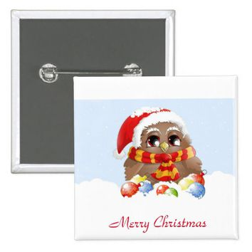 cute christmas owl pinback button