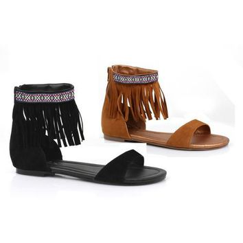 Tribal fringe native flat sandal with embroidered details