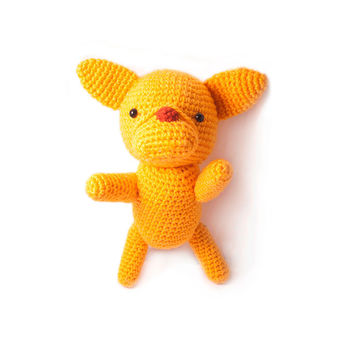 Yellow Dogs Handmade Amigurumi Stuffed Toy Knit Crochet Doll VAC