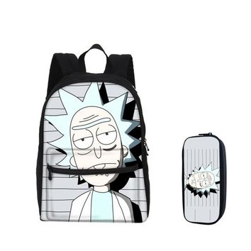 Anime Backpack School Hynes Eagle School Backpacks Pencil Case 2pcs/Set Cartoon kawaii cute Funny Pack Rick and Morty Prints 3D Bag Children Mochila Escolar AT_60_4