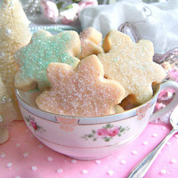 Sparkly Snowflake Shortbread 1 1/2 Dozen Shabby Chic Christmas Cookies Gift