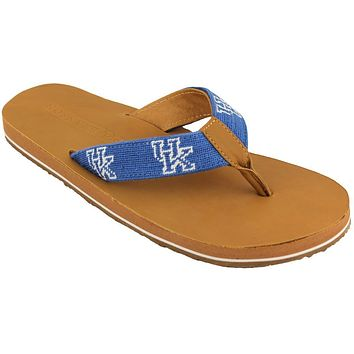 Men's University of Kentucky Needle Point Flip Flops in Tan Leather by Smathers & Branson