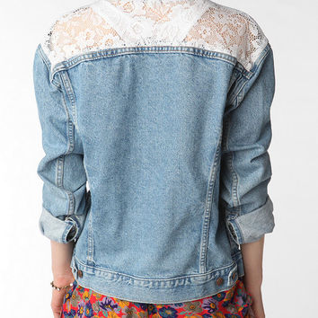 Urban Outfitters - Urban Renewal Oversized Lace Inset Denim Jacket