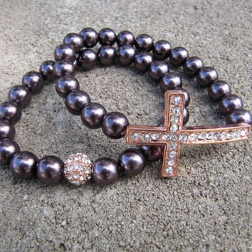 Rose Gold & Deep Maroon Pearl Crystal Sideways Cross Bracelets - Set of 2