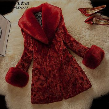 plus Size 2017 Winter Fur Coat Jacket Faux Rabbit Fur with Fox Fur Collar Outwear Warm Fashion S-6XL