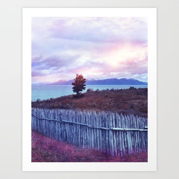 Sunset and lone tree Art Print by vivianagonzlez
