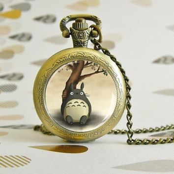 Totoro Bamboo Pocket watch necklace Victorian Steampunk style - Glass cabochon - Special Easy gift
