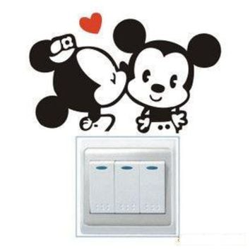Hot Mickey Mouse Minnie mouse toilet stickers Switch Panel Stickers diy removable vinyl art decals home decor animal  wallpaper
