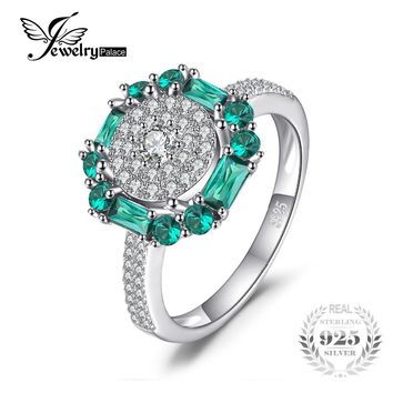JewelryPalace 1ct Created Emerald Ring 100% Real 925 Sterling Silver Vintage Fine Jewelry Rings For Women Gift 2017