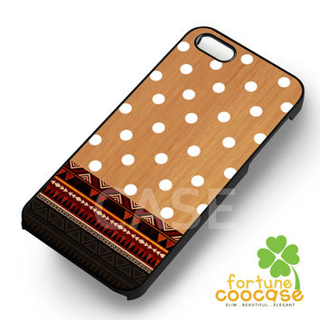 White polka dots on wood -end for iPhone 6S case, iPhone 5s case, iPhone 6 case, iPhone 4S, Samsung S6 Edge