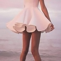 White Sleeveless High Scoop Neck Skater Circle A Line Flare Mini Dress