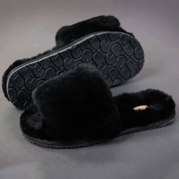 UGG: wool in one word drag slippers Black G-A-YYMY-XY