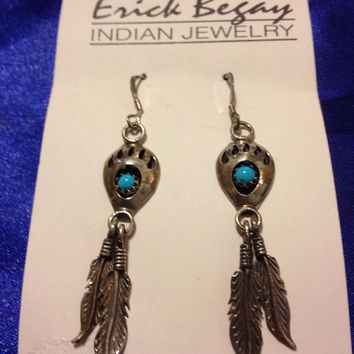Navajo Turquoise Earrings Erick Begay Sterling Silver Bear Claw Feathers Blue 925 Native American Southwestern Boho Tribal New Vintage NIB