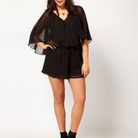 ASOS CURVE Playsuit With Cape Sleeve at asos.com