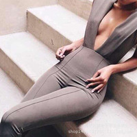 Brand 2015 Summer Elegant Womens Rompers Jumpsuit #9 Casual Solid Bodysuit Sleeveless Deep V Neck Long Playsuits Plus Size